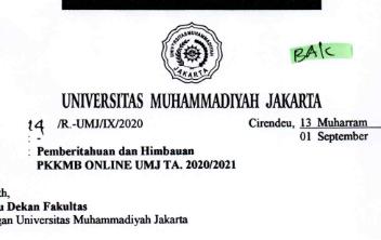 Surat Resmi Pemberitahuan dan himbauan PKKMB ONLINE UMJ T.A 2020-2021. new